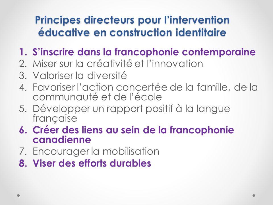 Principes directeurs pour lintervention éducative en construction identitaire 1.Sinscrire dans la francophonie contemporaine 2.Miser sur la créativité