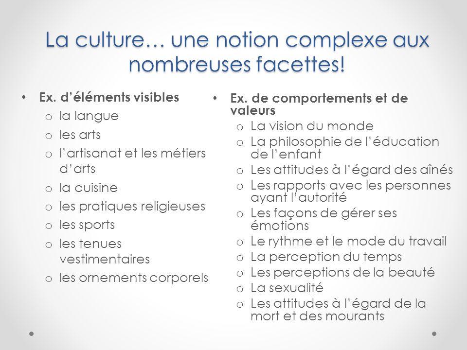 La culture… une notion complexe aux nombreuses facettes! Ex. déléments visibles o la langue o les arts o lartisanat et les métiers darts o la cuisine