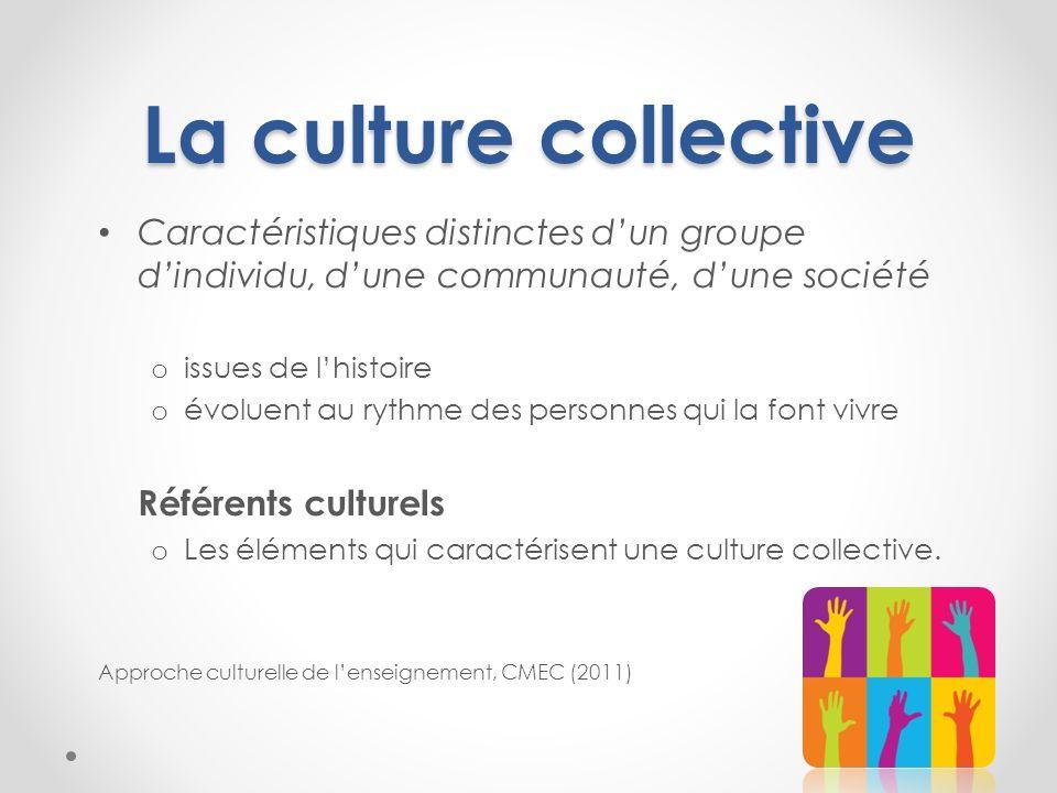 La culture collective Caractéristiques distinctes dun groupe dindividu, dune communauté, dune société o issues de lhistoire o évoluent au rythme des p