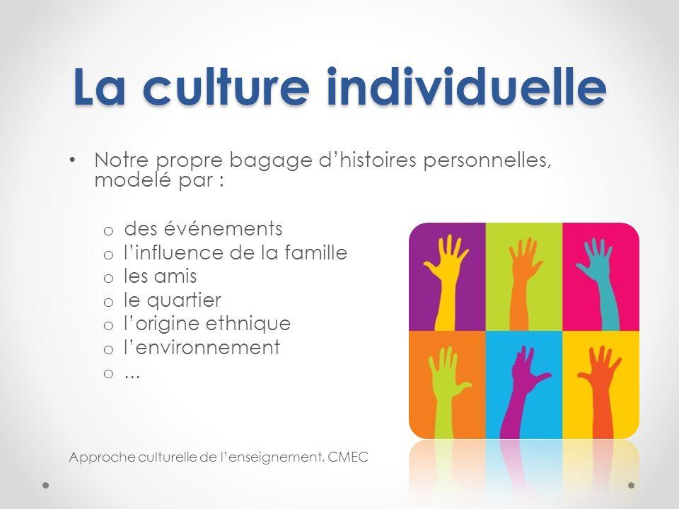 La culture individuelle Notre propre bagage dhistoires personnelles, modelé par : o des événements o linfluence de la famille o les amis o le quartier
