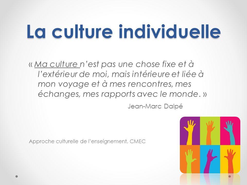 La culture individuelle « Ma culture nest pas une chose fixe et à lextérieur de moi, mais intérieure et liée à mon voyage et à mes rencontres, mes éch