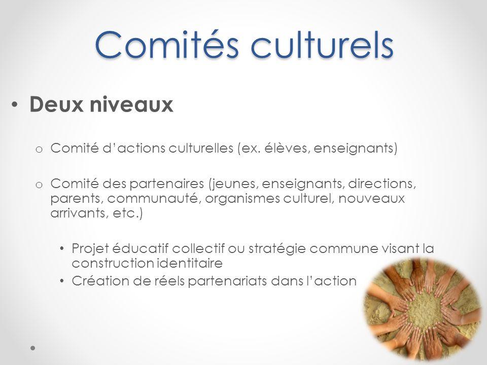 Comités culturels Deux niveaux o Comité dactions culturelles (ex. élèves, enseignants) o Comité des partenaires (jeunes, enseignants, directions, pare