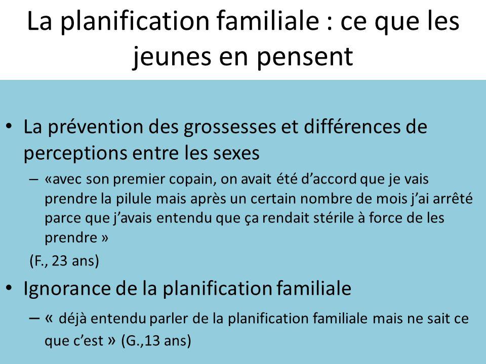 La planification familiale : ce que les jeunes en pensent La prévention des grossesses et différences de perceptions entre les sexes – «avec son premi