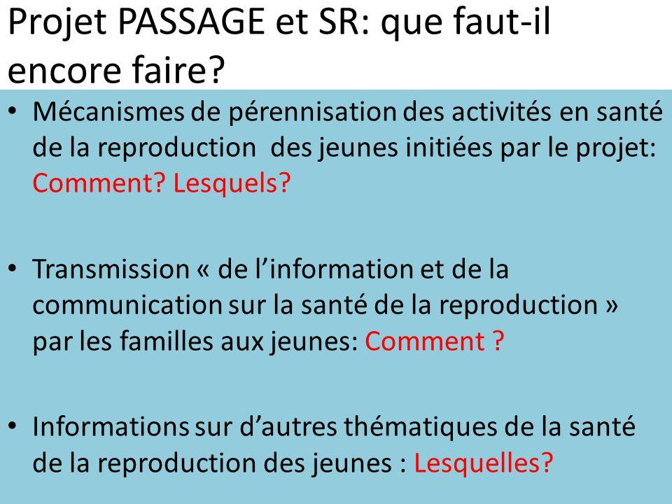 Projet PASSAGE et SR: que faut-il encore faire? Mécanismes de pérennisation des activités en santé de la reproduction des jeunes initiées par le proje