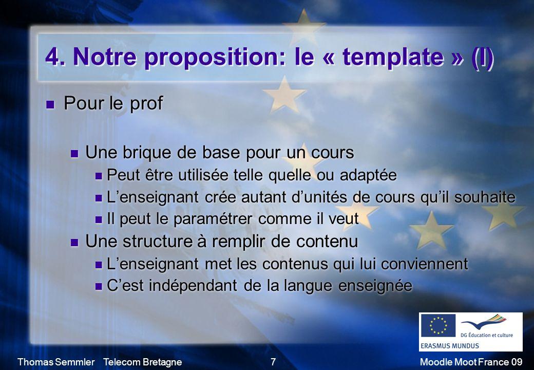 Thomas Semmler Telecom Bretagne7Moodle Moot France 09 4. Notre proposition: le « template » (I) Pour le prof Une brique de base pour un cours Peut êtr