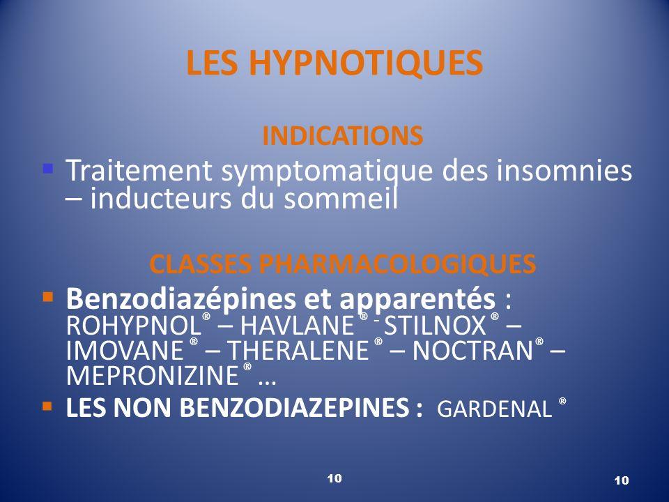 10 LES HYPNOTIQUES INDICATIONS Traitement symptomatique des insomnies – inducteurs du sommeil CLASSES PHARMACOLOGIQUES Benzodiazépines et apparentés :
