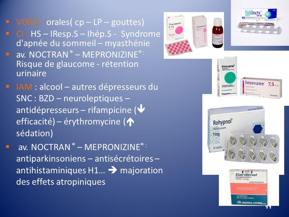 VOIES : orales( cp – LP – gouttes) CI : HS – IResp.S – Ihép.S - Syndrome d'apnée du sommeil – myasthénie av. NOCTRAN ® – MEPRONIZINE ® : Risque de gla