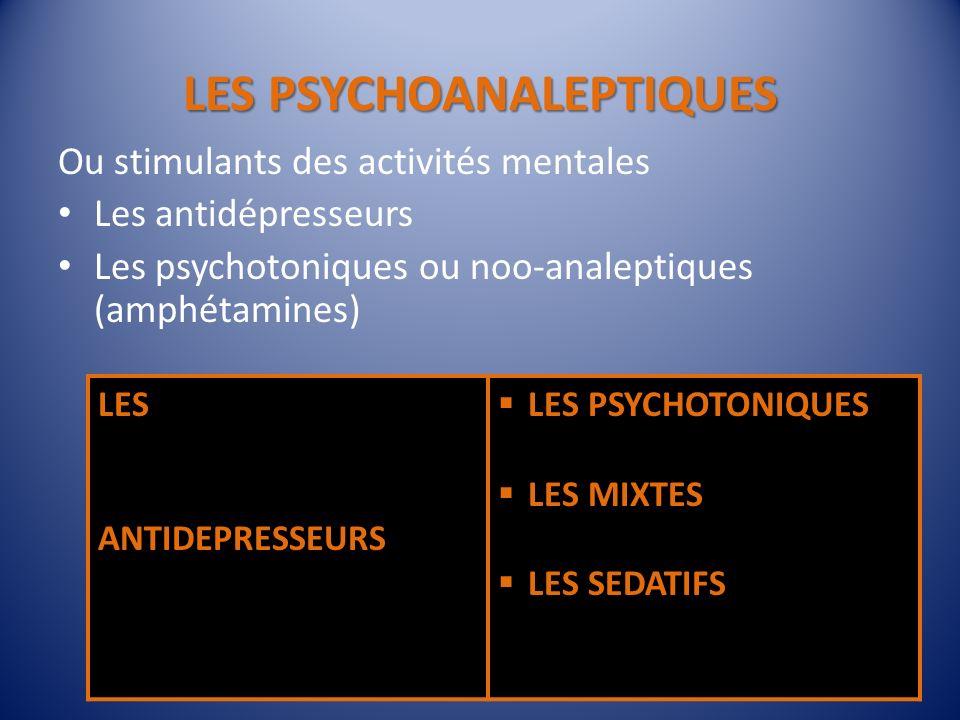 LES PSYCHOANALEPTIQUES Ou stimulants des activités mentales Les antidépresseurs Les psychotoniques ou noo-analeptiques (amphétamines) 16 LES ANTIDEPRE