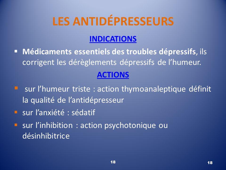 LES ANTIDÉPRESSEURS INDICATIONS Médicaments essentiels des troubles dépressifs, ils corrigent les dérèglements dépressifs de lhumeur. ACTIONS sur lhum