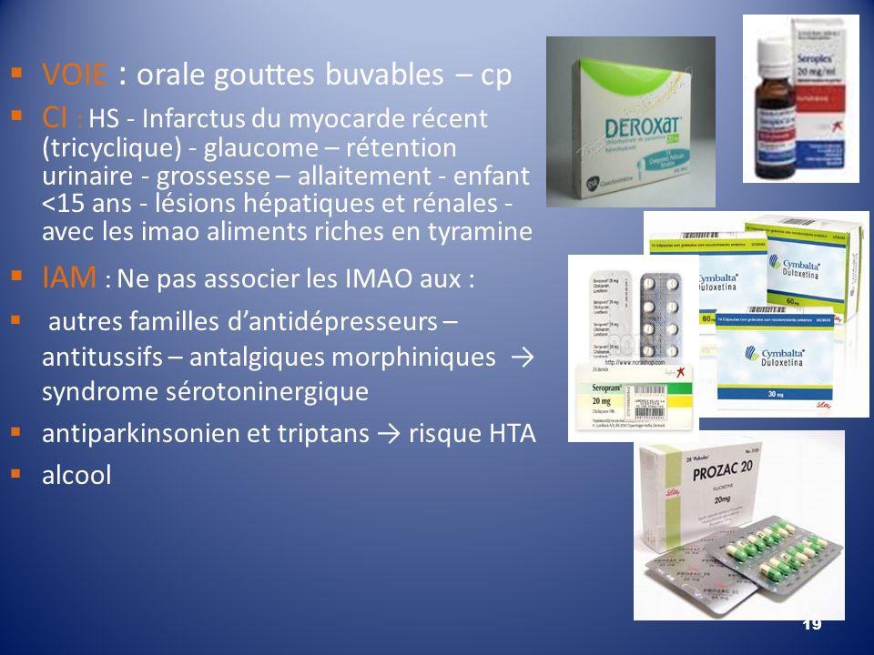 VOIE : orale gouttes buvables – cp CI : HS - Infarctus du myocarde récent (tricyclique) - glaucome – rétention urinaire - grossesse – allaitement - en