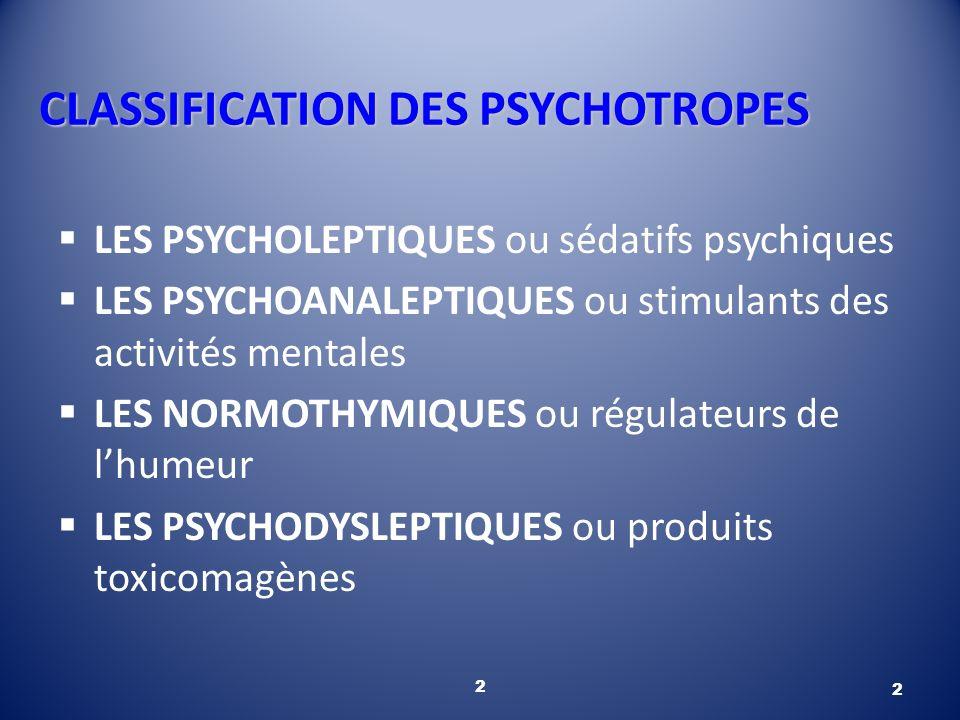 2 CLASSIFICATION DES PSYCHOTROPES LES PSYCHOLEPTIQUES ou sédatifs psychiques LES PSYCHOANALEPTIQUES ou stimulants des activités mentales LES NORMOTHYM
