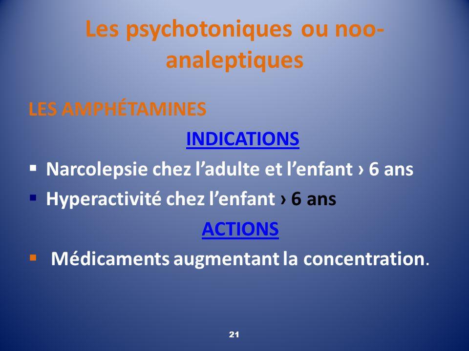 Les psychotoniques ou noo- analeptiques LES AMPHÉTAMINES INDICATIONS Narcolepsie chez ladulte et lenfant 6 ans Hyperactivité chez lenfant 6 ans ACTION