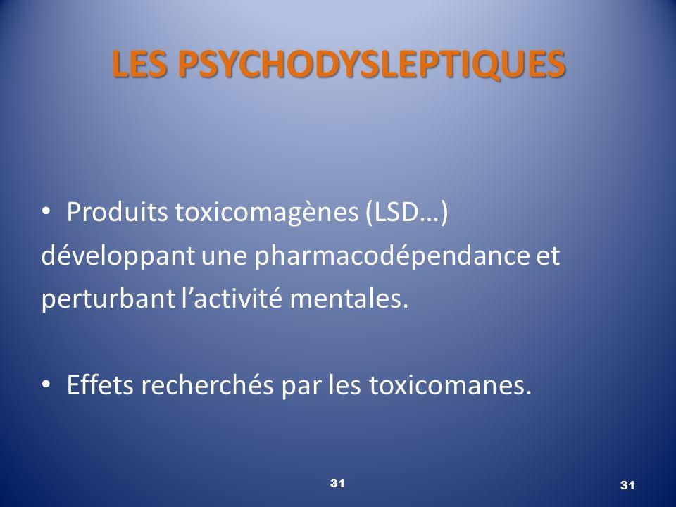 LES PSYCHODYSLEPTIQUES Produits toxicomagènes (LSD…) développant une pharmacodépendance et perturbant lactivité mentales. Effets recherchés par les to