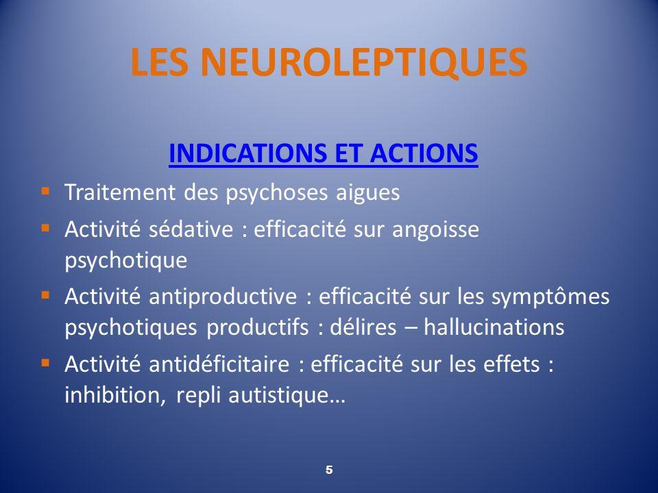 LES NEUROLEPTIQUES INDICATIONS ET ACTIONS Traitement des psychoses aigues Activité sédative : efficacité sur angoisse psychotique Activité antiproduct