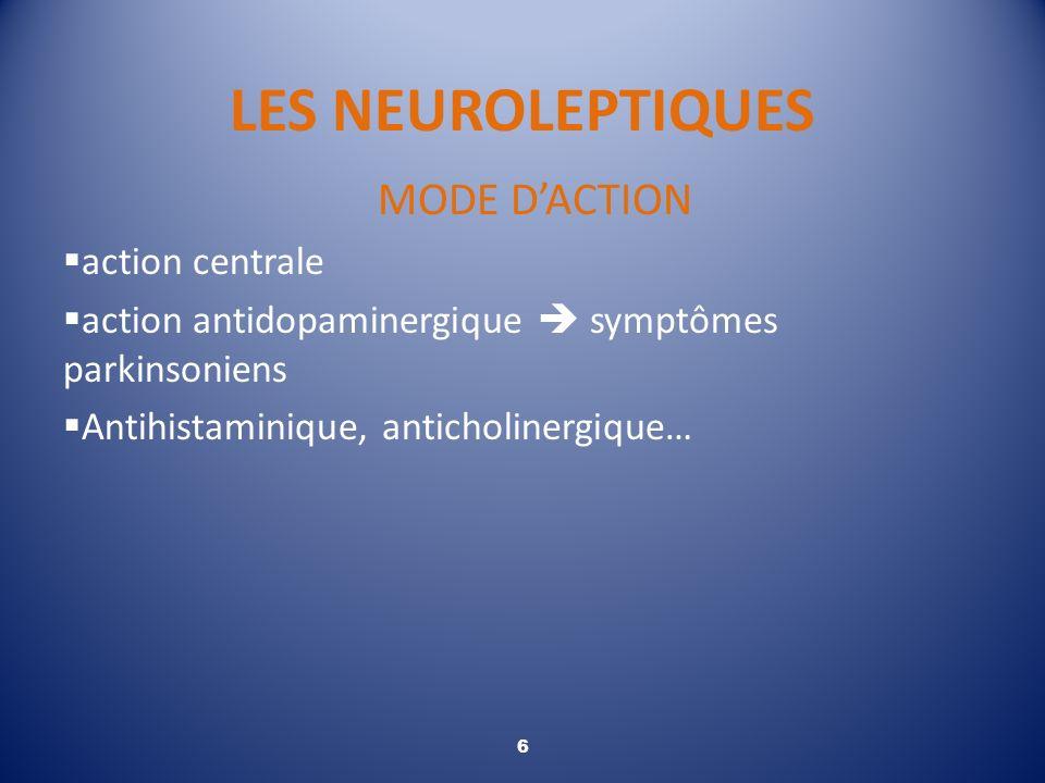 LES NEUROLEPTIQUES MODE DACTION action centrale action antidopaminergique symptômes parkinsoniens Antihistaminique, anticholinergique… 6