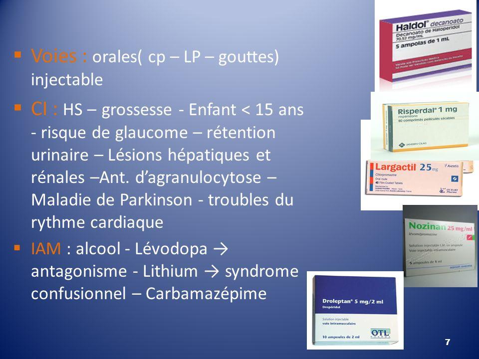 Voies : orales( cp – LP – gouttes) injectable CI : HS – grossesse - Enfant < 15 ans - risque de glaucome – rétention urinaire – Lésions hépatiques et