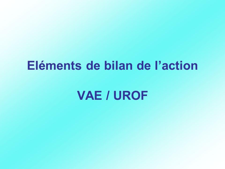 Eléments de bilan de laction VAE / UROF