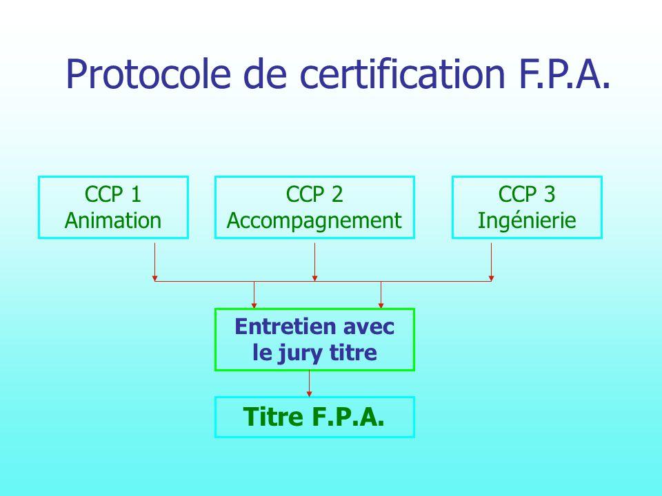 CCP 1 Animation CCP 2 Accompagnement CCP 3 Ingénierie Entretien avec le jury titre Titre F.P.A.