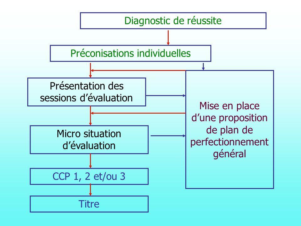 Diagnostic de réussite Préconisations individuelles Mise en place dune proposition de plan de perfectionnement général Présentation des sessions dévaluation Micro situation dévaluation CCP 1, 2 et/ou 3 Titre