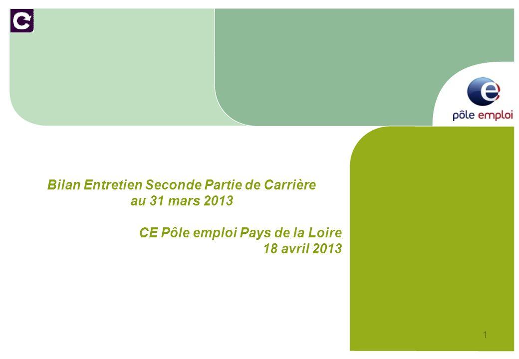 1 Bilan Entretien Seconde Partie de Carrière au 31 mars 2013 CE Pôle emploi Pays de la Loire 18 avril 2013
