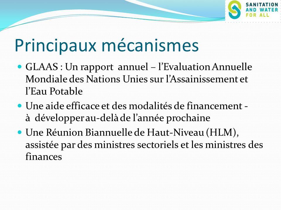 Principaux mécanismes GLAAS : Un rapport annuel – lEvaluation Annuelle Mondiale des Nations Unies sur lAssainissement et lEau Potable Une aide efficace et des modalités de financement - à développer au-delà de lannée prochaine Une Réunion Biannuelle de Haut-Niveau (HLM), assistée par des ministres sectoriels et les ministres des finances