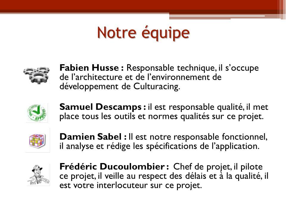 Notre équipe Fabien Husse : Responsable technique, il soccupe de larchitecture et de lenvironnement de développement de Culturacing.