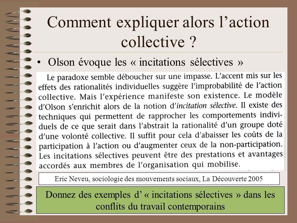 Le « paradoxe de action collective » Pourquoi laction collective peut-elle être qualifiée de paradoxe ? Lindividu optimise son intérêt individuel par