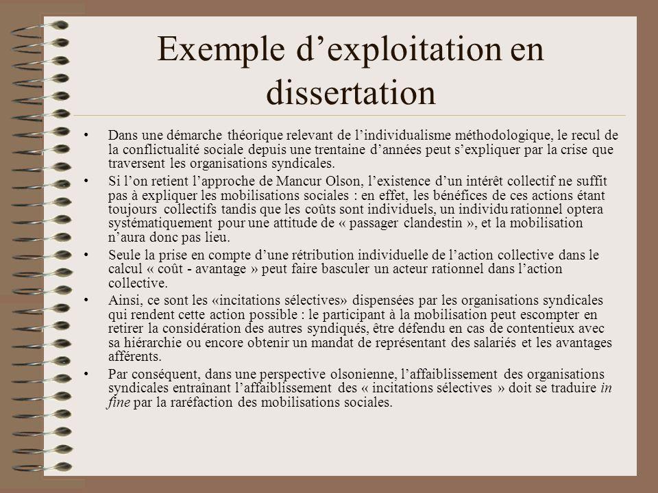 Comment lutiliser en dissertation ? (cliquer sur les pavés) Pour montrer que lindividualisme croissant explique le recul des conflits ? Pour dire que
