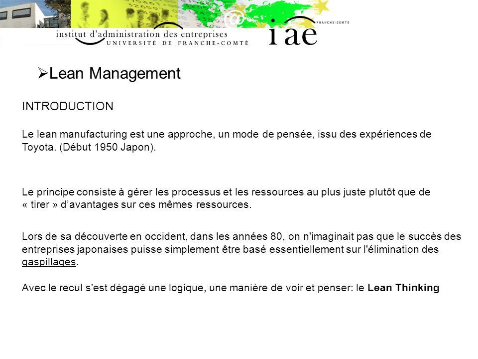 Lean Management INTRODUCTION Le lean manufacturing est une approche, un mode de pensée, issu des expériences de Toyota. (Début 1950 Japon). Le princip
