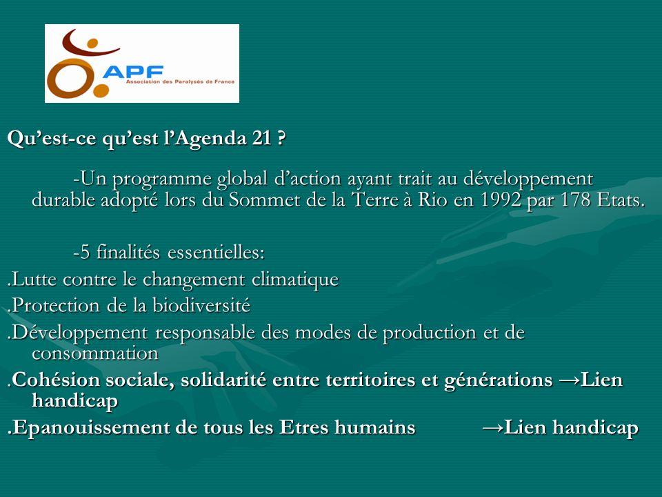 Quest-ce quest lAgenda 21 ? -Un programme global daction ayant trait au développement durable adopté lors du Sommet de la Terre à Rio en 1992 par 178