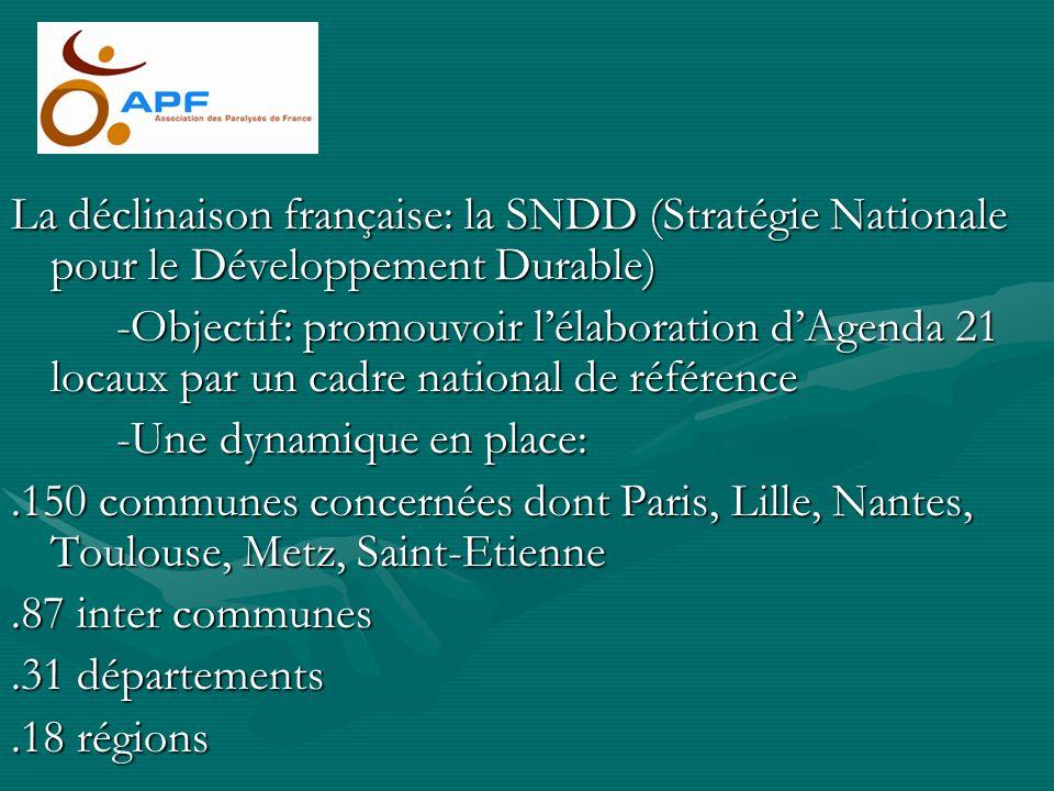 La déclinaison française: la SNDD (Stratégie Nationale pour le Développement Durable) -Objectif: promouvoir lélaboration dAgenda 21 locaux par un cadr