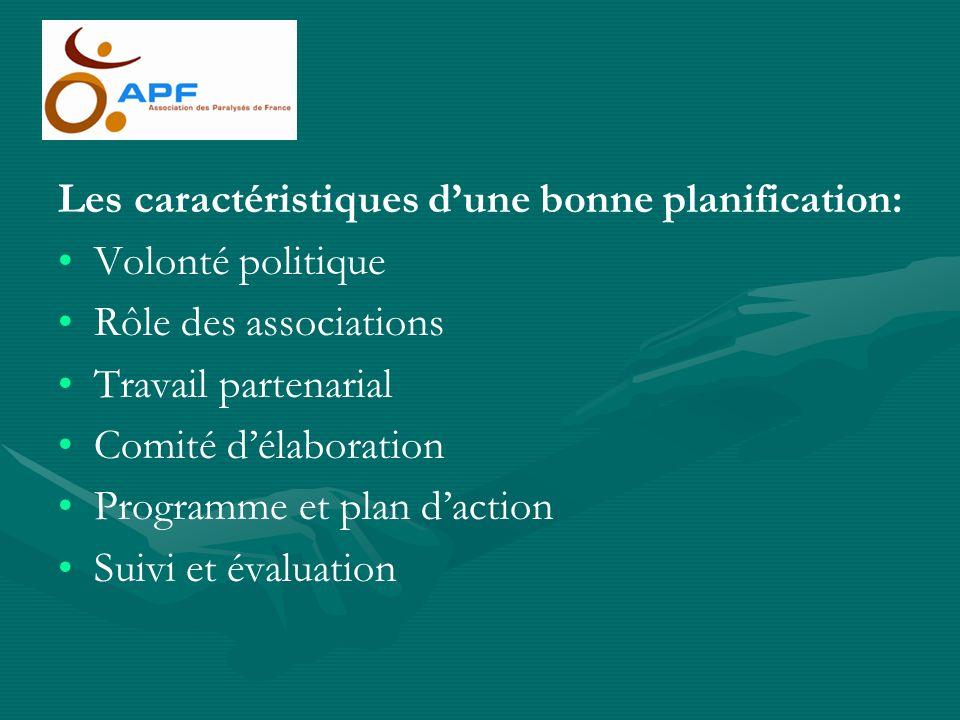 Les caractéristiques dune bonne planification: Volonté politique Rôle des associations Travail partenarial Comité délaboration Programme et plan dacti