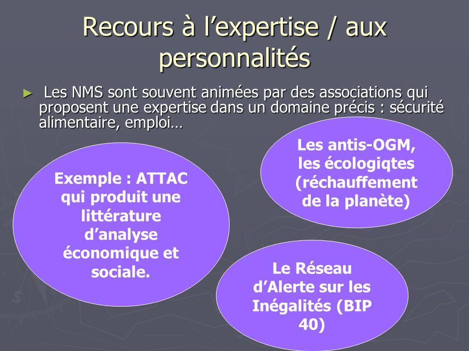 Recours à lexpertise / aux personnalités Les NMS sont souvent animées par des associations qui proposent une expertise dans un domaine précis : sécuri