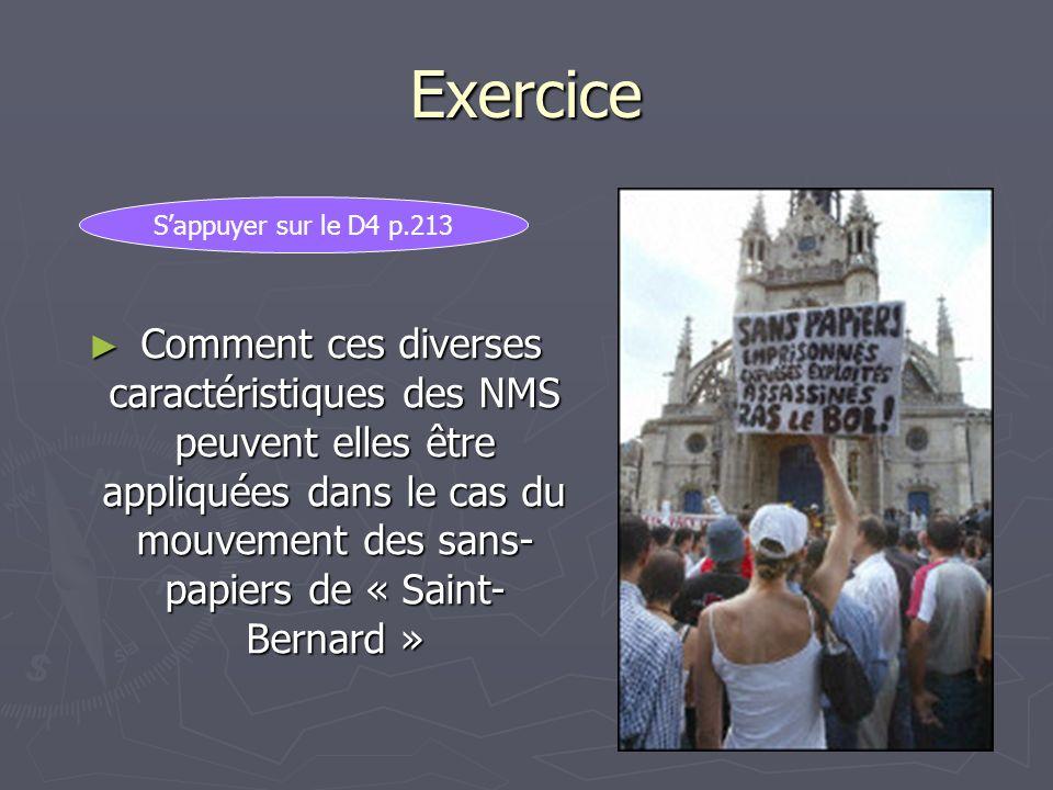Exercice Comment ces diverses caractéristiques des NMS peuvent elles être appliquées dans le cas du mouvement des sans- papiers de « Saint- Bernard »