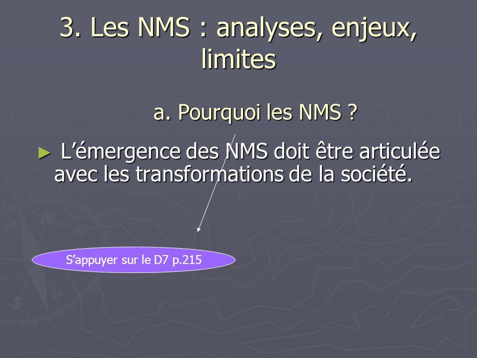 3. Les NMS : analyses, enjeux, limites Lémergence des NMS doit être articulée avec les transformations de la société. Lémergence des NMS doit être art
