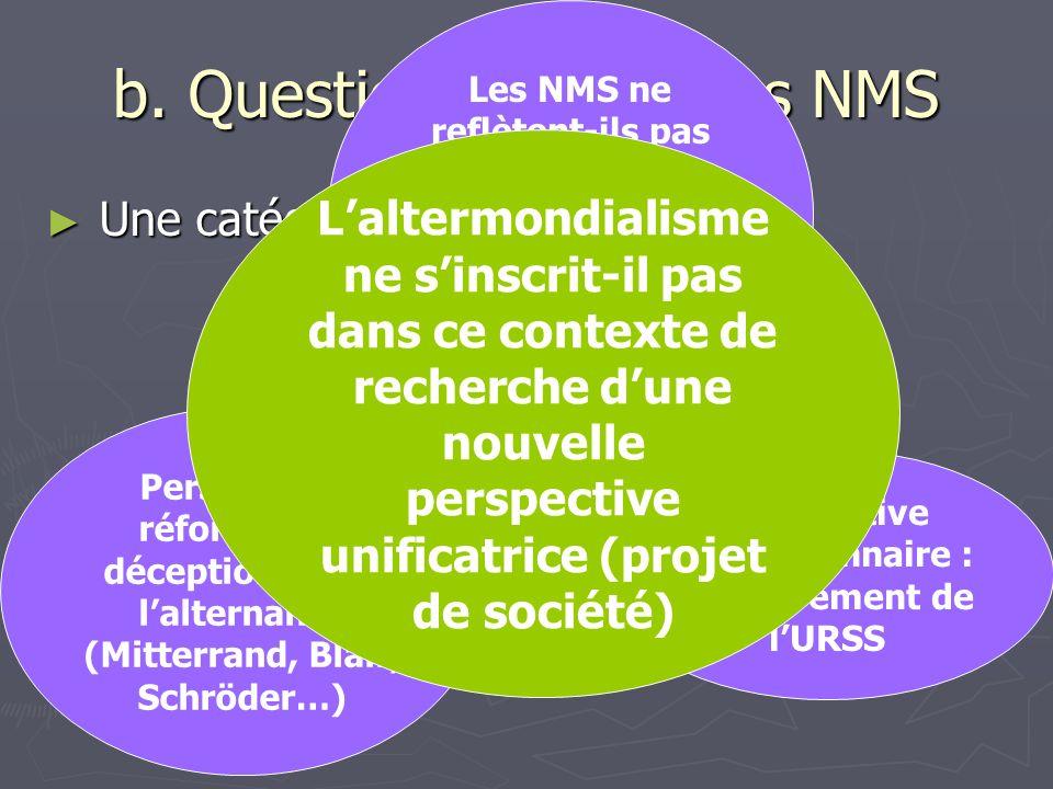 b. Questions autour des NMS Une catégorie unifiée ? Une catégorie unifiée ? Les NMS ne reflètent-ils pas autre chose que labsence de perspective unifi