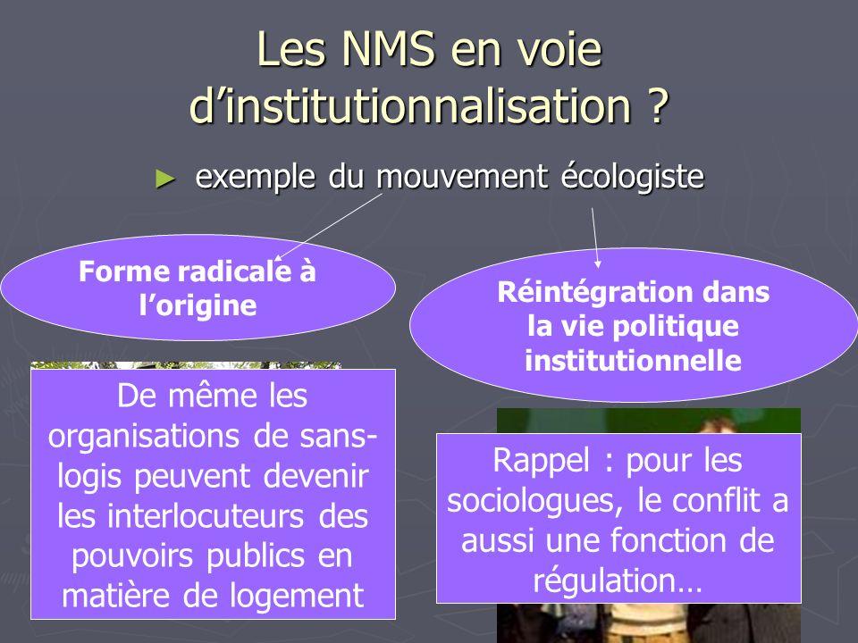 Les NMS en voie dinstitutionnalisation ? exemple du mouvement écologiste exemple du mouvement écologiste Forme radicale à lorigine Réintégration dans