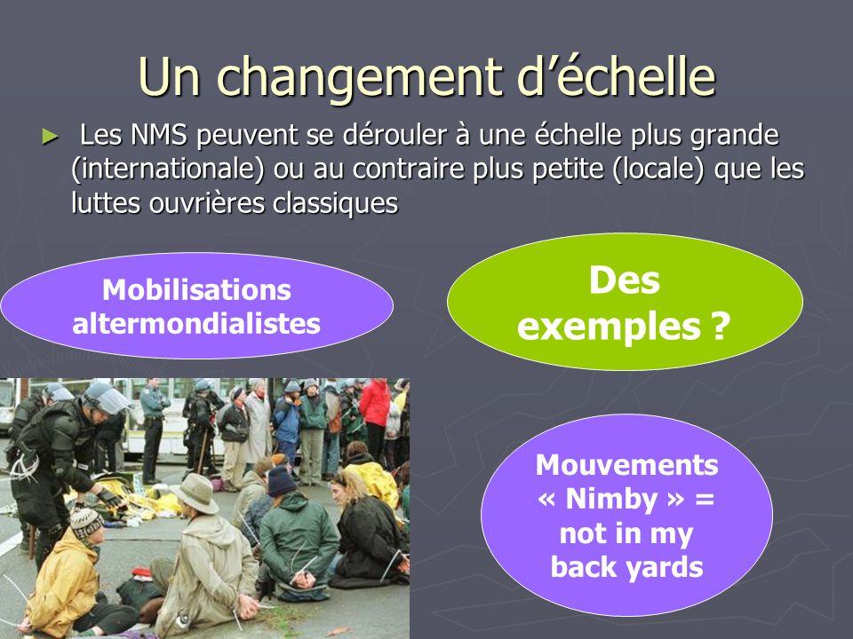 Des exemples ? Un changement déchelle Les NMS peuvent se dérouler à une échelle plus grande (internationale) ou au contraire plus petite (locale) que