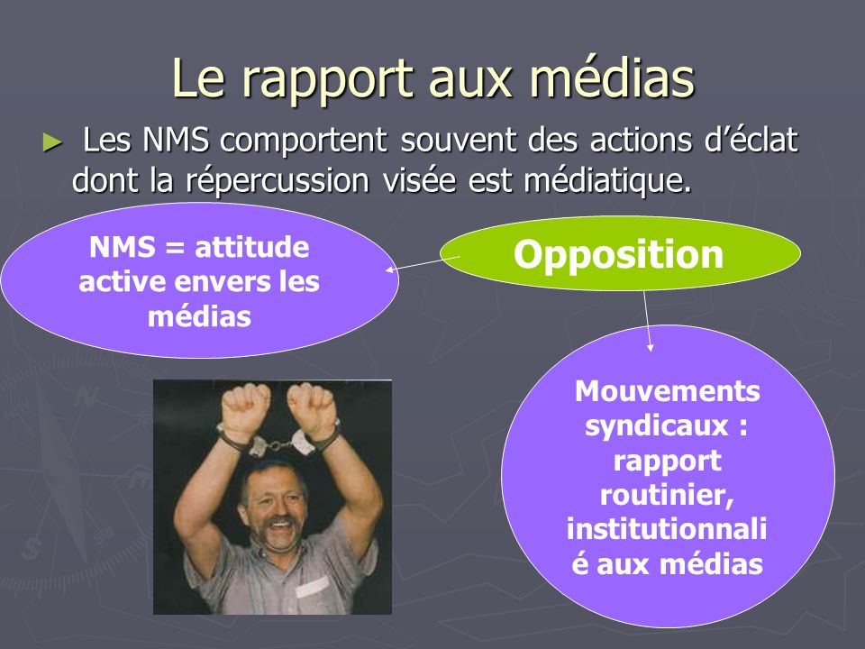 Opposition Le rapport aux médias Les NMS comportent souvent des actions déclat dont la répercussion visée est médiatique. Les NMS comportent souvent d