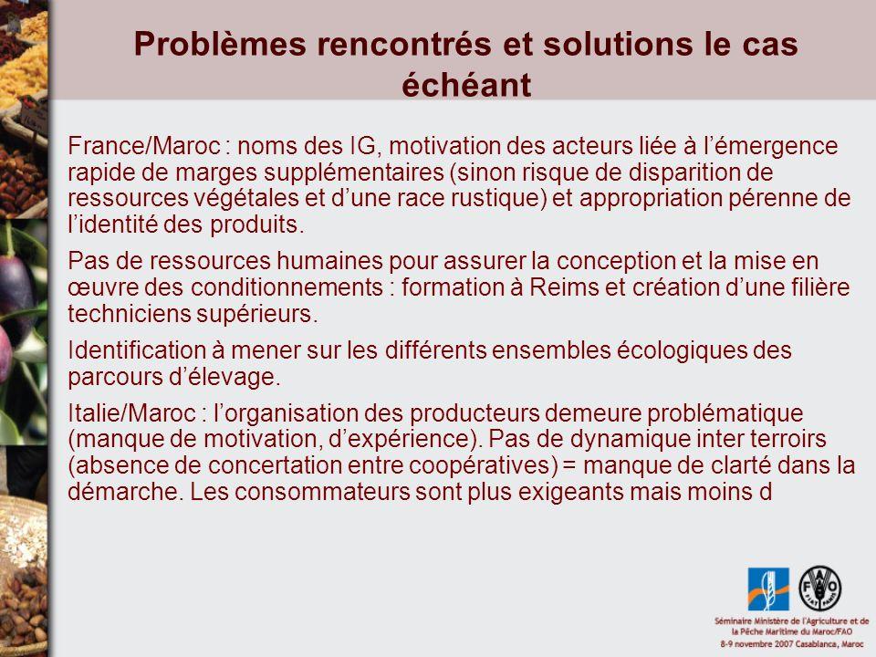 Problèmes rencontrés et solutions le cas échéant France/Maroc : noms des IG, motivation des acteurs liée à lémergence rapide de marges supplémentaires (sinon risque de disparition de ressources végétales et dune race rustique) et appropriation pérenne de lidentité des produits.