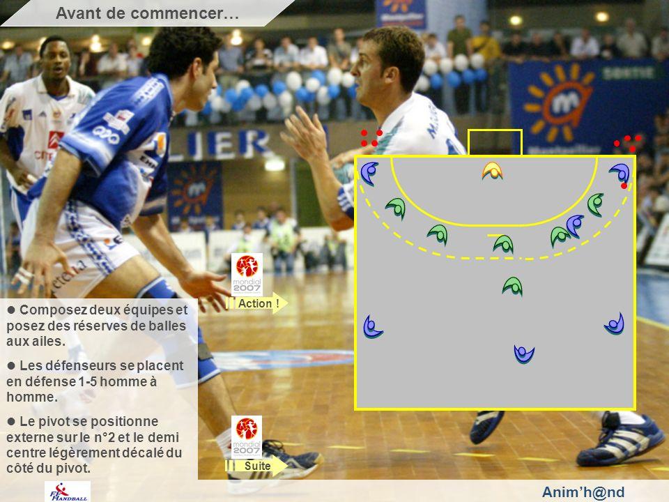 Animh@nd Composez deux équipes et posez des réserves de balles aux ailes. Les défenseurs se placent en défense 1-5 homme à homme. Le pivot se position