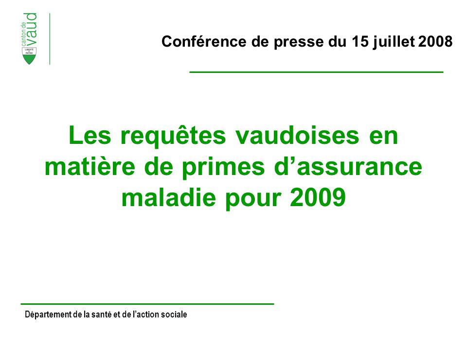 Conférence de presse du 15 juillet 2008 Les requêtes vaudoises en matière de primes dassurance maladie pour 2009 Département de la santé et de laction sociale