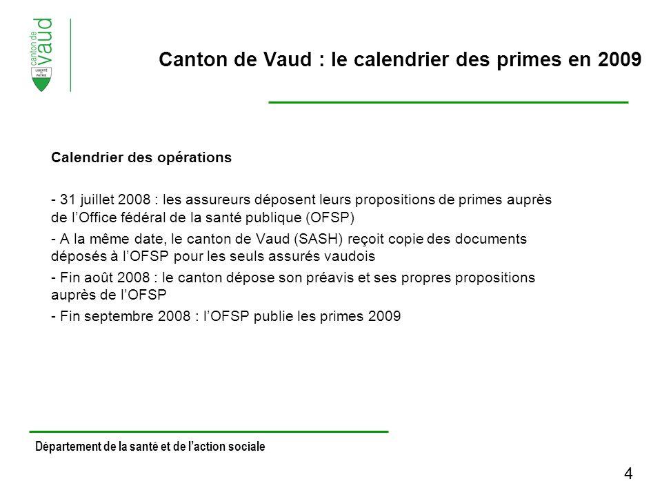 Calendrier des opérations - 31 juillet 2008 : les assureurs déposent leurs propositions de primes auprès de lOffice fédéral de la santé publique (OFSP) - A la même date, le canton de Vaud (SASH) reçoit copie des documents déposés à lOFSP pour les seuls assurés vaudois - Fin août 2008 : le canton dépose son préavis et ses propres propositions auprès de lOFSP - Fin septembre 2008 : lOFSP publie les primes 2009 Département de la santé et de laction sociale Canton de Vaud : le calendrier des primes en 2009 4