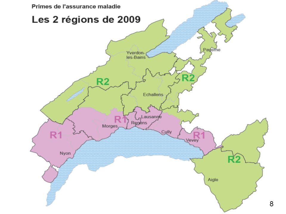 Département de la santé et de laction sociale Volume de la population vaudoise concernée par le passage à deux régions dès 2009 Régions 2008 Régions 2009 Ancienne R1Ancienne R2Ancienne R3 Nouvelle R1204000 hab.261000 hab.--- Nouvelle R2---37000 hab.170000 hab.