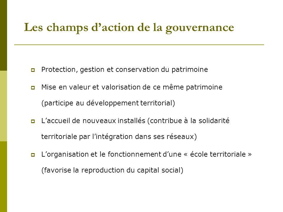 Les champs daction de la gouvernance Protection, gestion et conservation du patrimoine Mise en valeur et valorisation de ce même patrimoine (participe