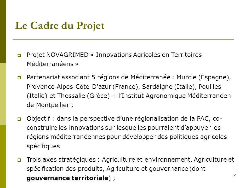 2 Le Cadre du Projet Projet NOVAGRIMED « Innovations Agricoles en Territoires Méditerranéens » Partenariat associant 5 régions de Méditerranée : Murci