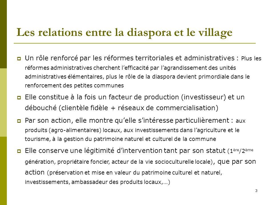 3 Les relations entre la diaspora et le village Un rôle renforcé par les réformes territoriales et administratives : Plus les réformes administratives