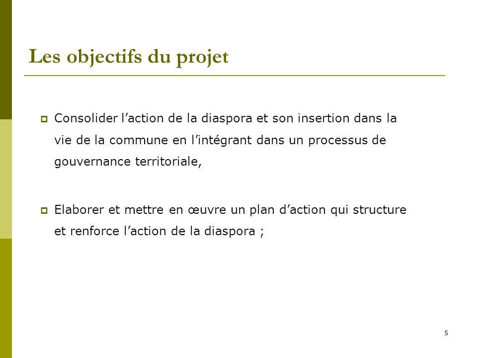 5 Les objectifs du projet Consolider laction de la diaspora et son insertion dans la vie de la commune en lintégrant dans un processus de gouvernance