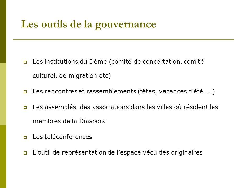Les outils de la gouvernance Les institutions du Dème (comité de concertation, comité culturel, de migration etc) Les rencontres et rassemblements (fê