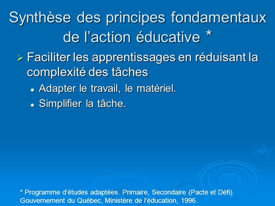 Synthèse des principes fondamentaux de laction éducative * Faciliter les apprentissages en réduisant la complexité des tâches Faciliter les apprentiss
